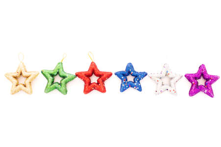 Glitter stars isolated on white background.