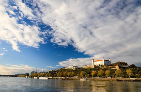 Bratislava castle,parliament and Danune river. Slovakia . Bratislava Editorial