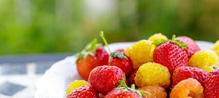 bio yellow raspberries with red strawberries on the table in the summer. close up
