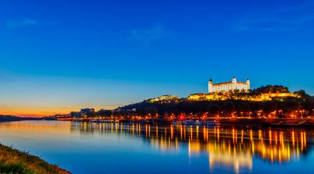 Bratislava castle with Danube river. Beautiful sunset. Slovakia . Bratislava. Редакционное