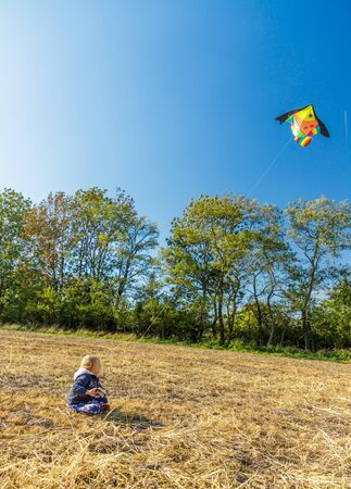 Brightly colored kite in the wind with a blue sky and a small child in a blue sweatshirt on a autumn field near forest