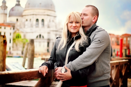Photos of the couple taken in Venice Stock Photo