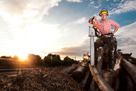 lumberjack with chainsaw photo