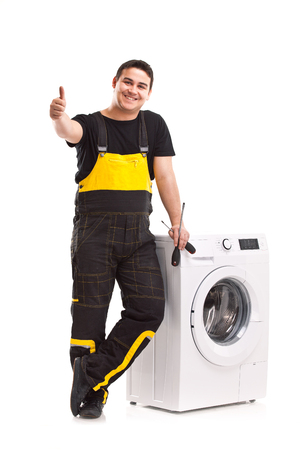 studio photo of washing machine repairman