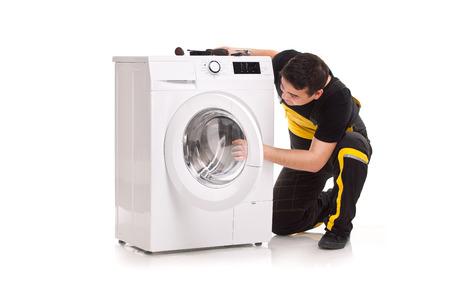 studio photo of washing machine repairman Stock Photo - 23764807