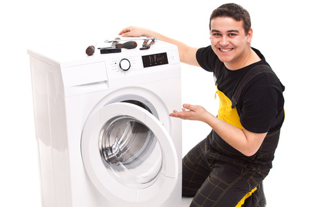 studio photo of washing machine repairman Stock Photo - 23764809