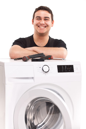studio photo of washing machine repairman Stock Photo - 23764933