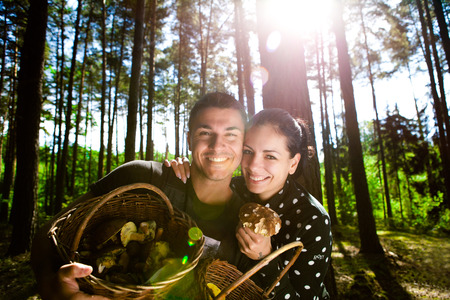 Couple picking mushrooms in the forest Stock Photo - 23764962
