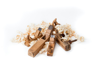 wood shavings: planers with wooden chips, wood shavings isolated on white background