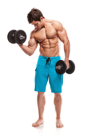 Muscular bodybuilder guy doing exercises with dumbbells isolated over white background