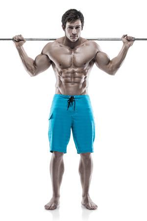 forearm: Muscular bodybuilder guy doing exercises with dumbbells over white background