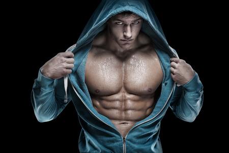 homme nu: Forte Athletic Man Fitness Model Torso montrant six pack abs. Banque d'images