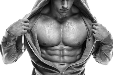 Strong Athletic Man Fitness Model Torso showing six pack abs. photo