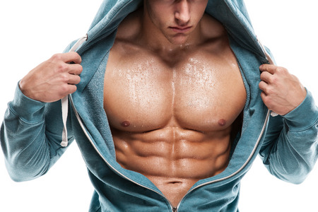 nude abs: Strong Athletic Man Fitness Model Torso showing six pack abs
