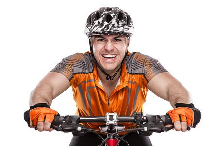 Jonge Mannelijke fietser met zijn fiets op ras Geïsoleerd Op Witte Achtergrond Stockfoto