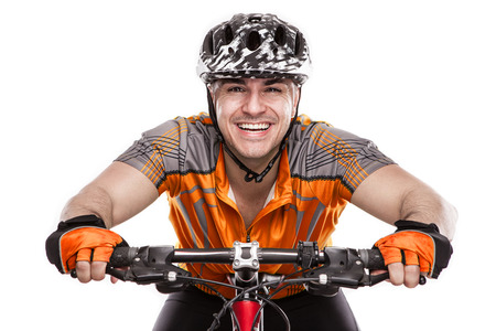 Young Male Cyclist With His Bicycle on race Isolated On White Background Standard-Bild
