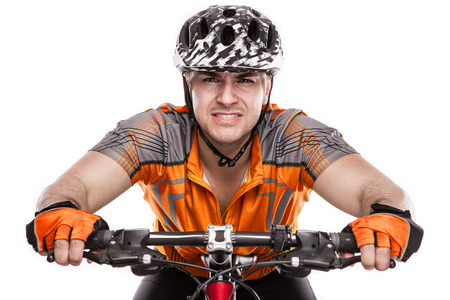 effort: Young Male Cyclist With His Bicycle on race Isolated On White Background Stock Photo