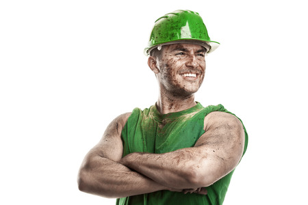 portrait of dirty worker with helmet crossed arms isolated on white background 版權商用圖片 - 31641356
