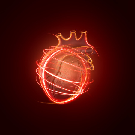 blood circulation: visualization of the human heart made of neon lines over black background