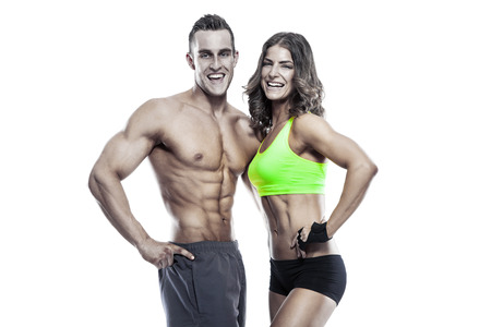 naked male body: beautiful young sporty sexy couple  isolated over white background