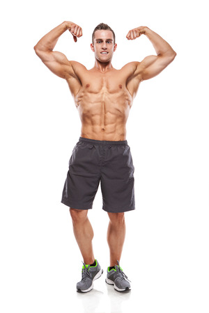 Strong Athletic Man Fitness Model Torso showing muscles isolated over white background
