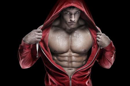 nude young: Сильный Спортивный человек Fitness Model Торс показали, что шесть кубиков пресса.