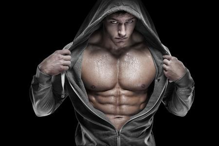 naked man: Fuerte Hombre Atlético modelo de la aptitud Torso mostrando abdominales perfectos.