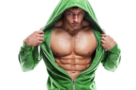nackt: Starker athletischer Mann Fitness Model Oberk�rper, die Bauchmuskeln. Lizenzfreie Bilder