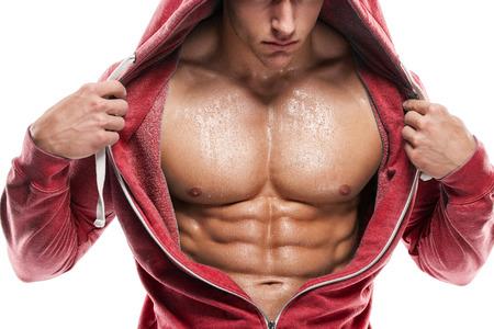 modelo desnuda: Fuerte Hombre Atl�tico modelo de la aptitud Torso mostrando abdominales perfectos.