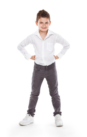 cool guy: standing young cool boy isolated over white background