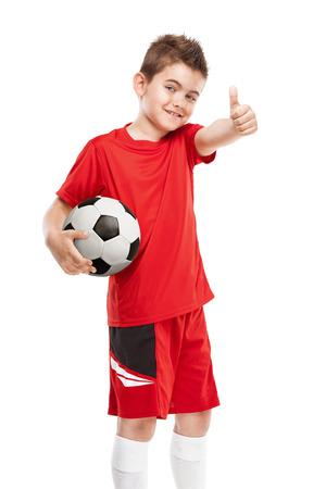 jugadores de futbol: de pie celebración de fútbol joven jugador de fútbol aislado sobre fondo blanco