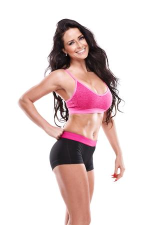 junge nackte m�dchen: posiert Fitness sexy Frau isoliert auf wei�em Hintergrund