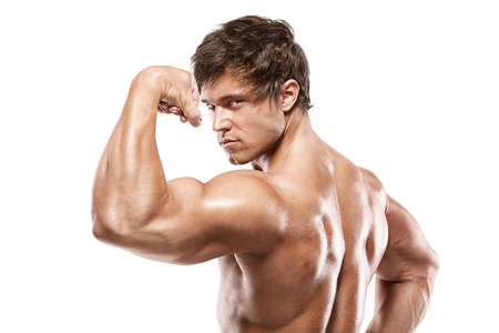 male chest: Strong Athletic Man Fitness Model posing back muscles, triceps, latissimus over white background