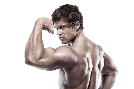 lats: Strong Athletic Man Fitness Model posing back muscles, triceps, latissimus over white background