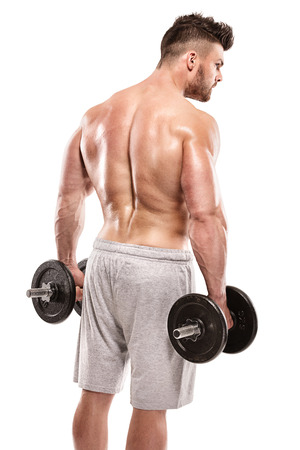 pectorals: Strong Athletic Man Fitness Model posing back muscles, triceps, latissimus over white background