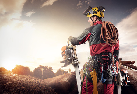 lumberjack with chainsaw isolated over black background 스톡 콘텐츠