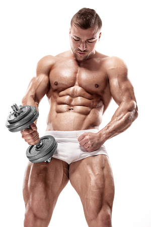 sixpack: Muscular bodybuilder guy doing exercises with big dumbbell over white background