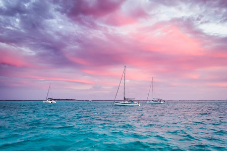 Sailing yacht, cruise on a catamaran across the Caribbean Sea
