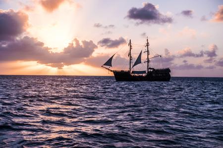 Sailing yacht, cruise on a catamaran across the Caribbean Sea