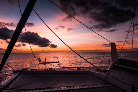 Sailing yacht catamaran sailing in the sea. Sailboat. Sailing in caribbean sea Standard-Bild
