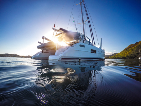 Sailing yacht catamaran sailing in the sea. Sailboat. Sailing in caribbean sea Stock Photo
