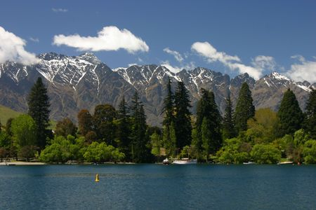 Remarkables mountain over park and  lake of Queenstown