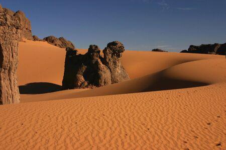 Sand dunes of sahara Stock Photo