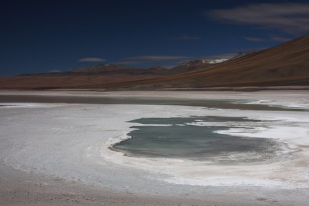 lipez: Laguna Blanca on the Sud Lipez Altiplano Stock Photo