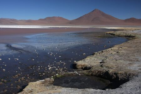 lipez: Laguna Colorada on the Sud Lipez Altiplano  Stock Photo