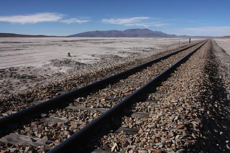 sud: Railroad on Salar de Chiguana in Sud Lipez Altiplano