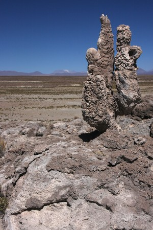 lipez: Stromatolite island in Sud Lipez Altiplano desert Stock Photo
