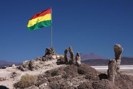 Stromatolite island in Sud Lipez Altiplano desert Stock Photo