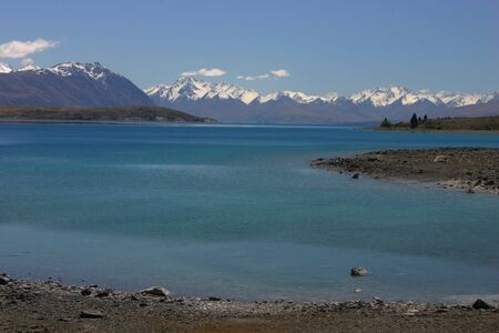 tekapo: Tekapo Lake blue waters and alps mountains of new zealand