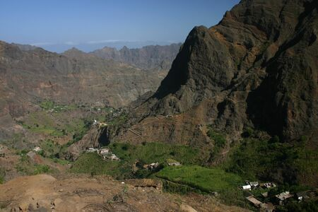 Mountains and villages in Cape verde island of Sao Antao